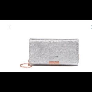 Ted Baker Silver Leather Janet Matinee Clutch